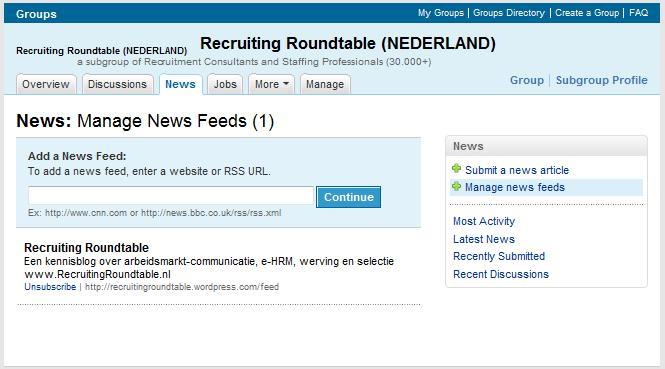 LinkedIn Manage News feeds