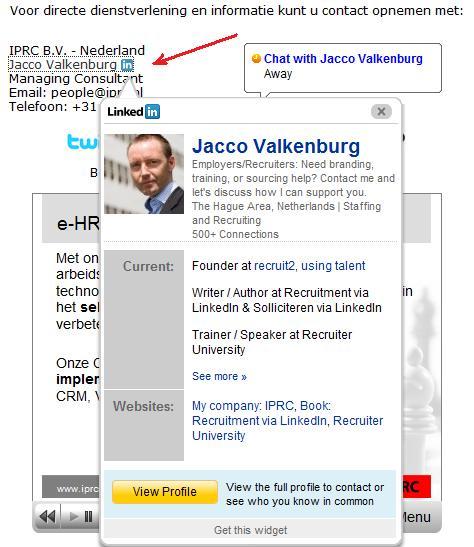 LinkedIn Profile Widget Jacco