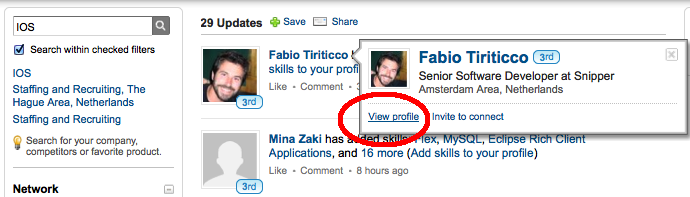 LinkedIn Signal view profile