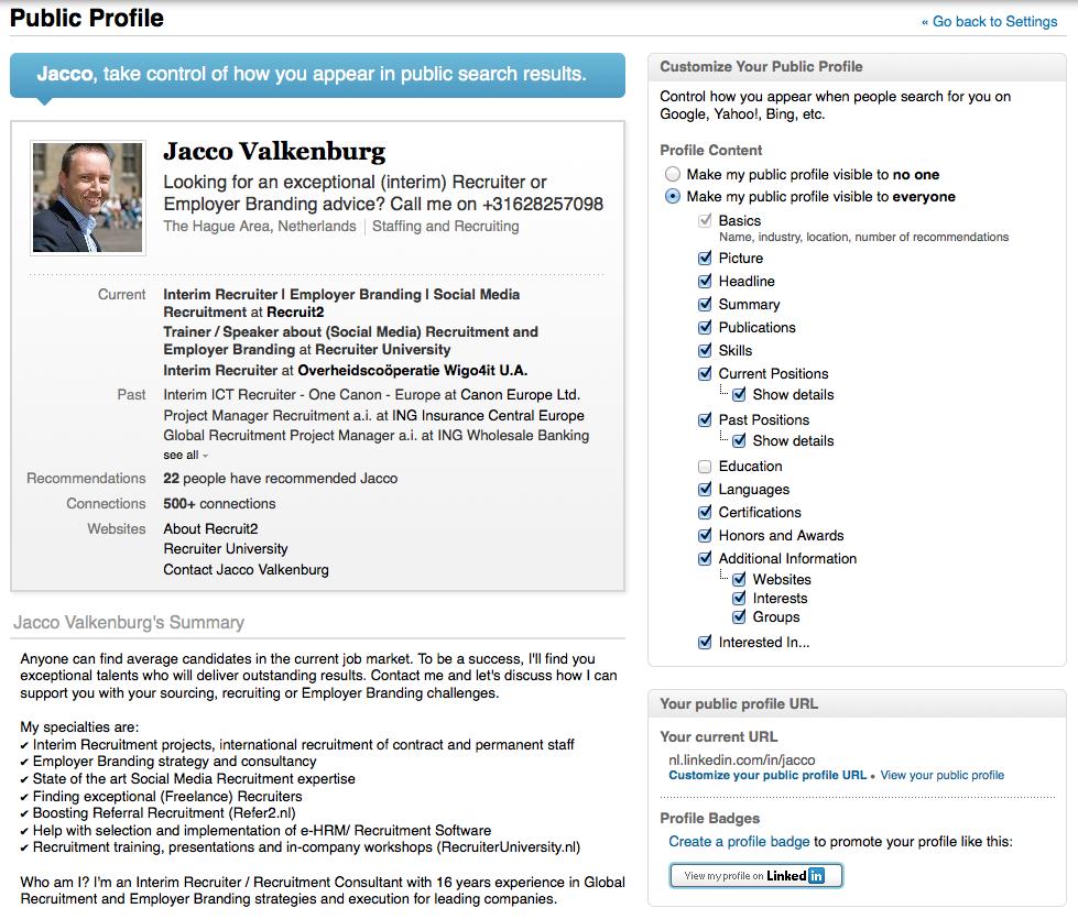 Openbaar LinkedIn profiel