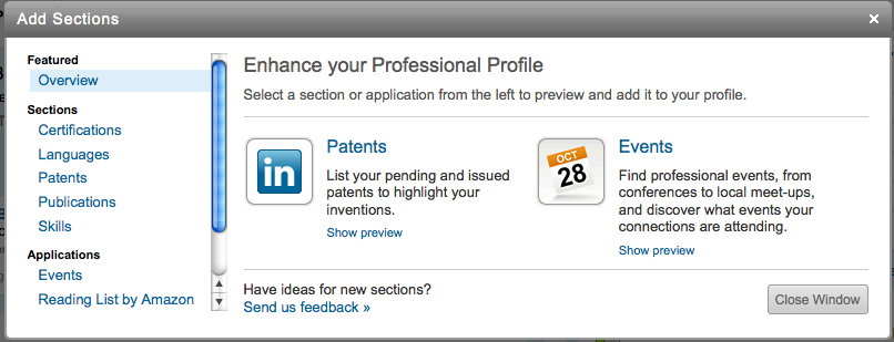 LinkedIn add sections dialog