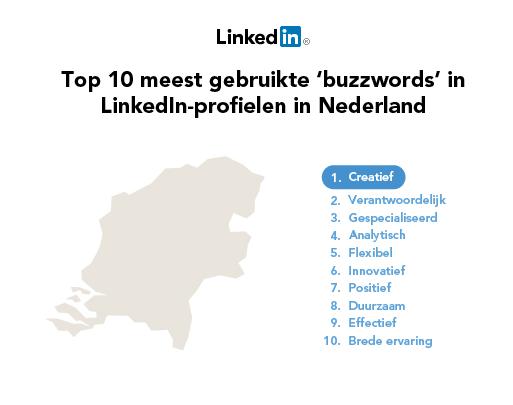 De meest gebruikte woorden ('buzzwords') in LinkedIn-profielen in 2012