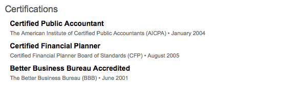 LinkedIn preview-certifications