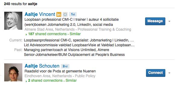 LinkedIn Premium zoekresultaten